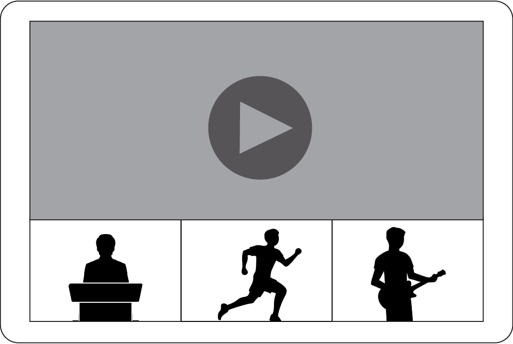 Online video window with 3 windows below it showing a speaker and podium silhouette, runner silhouette, guitarist silhouette.