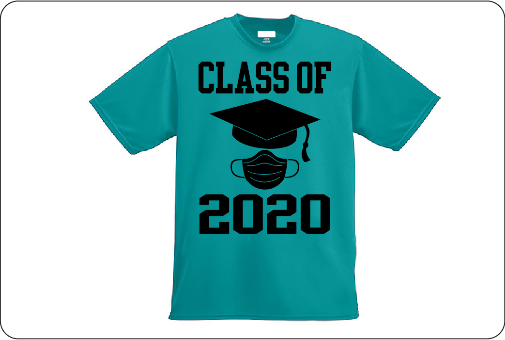 Teal t-shirt with 'class of 2020' artwork on front