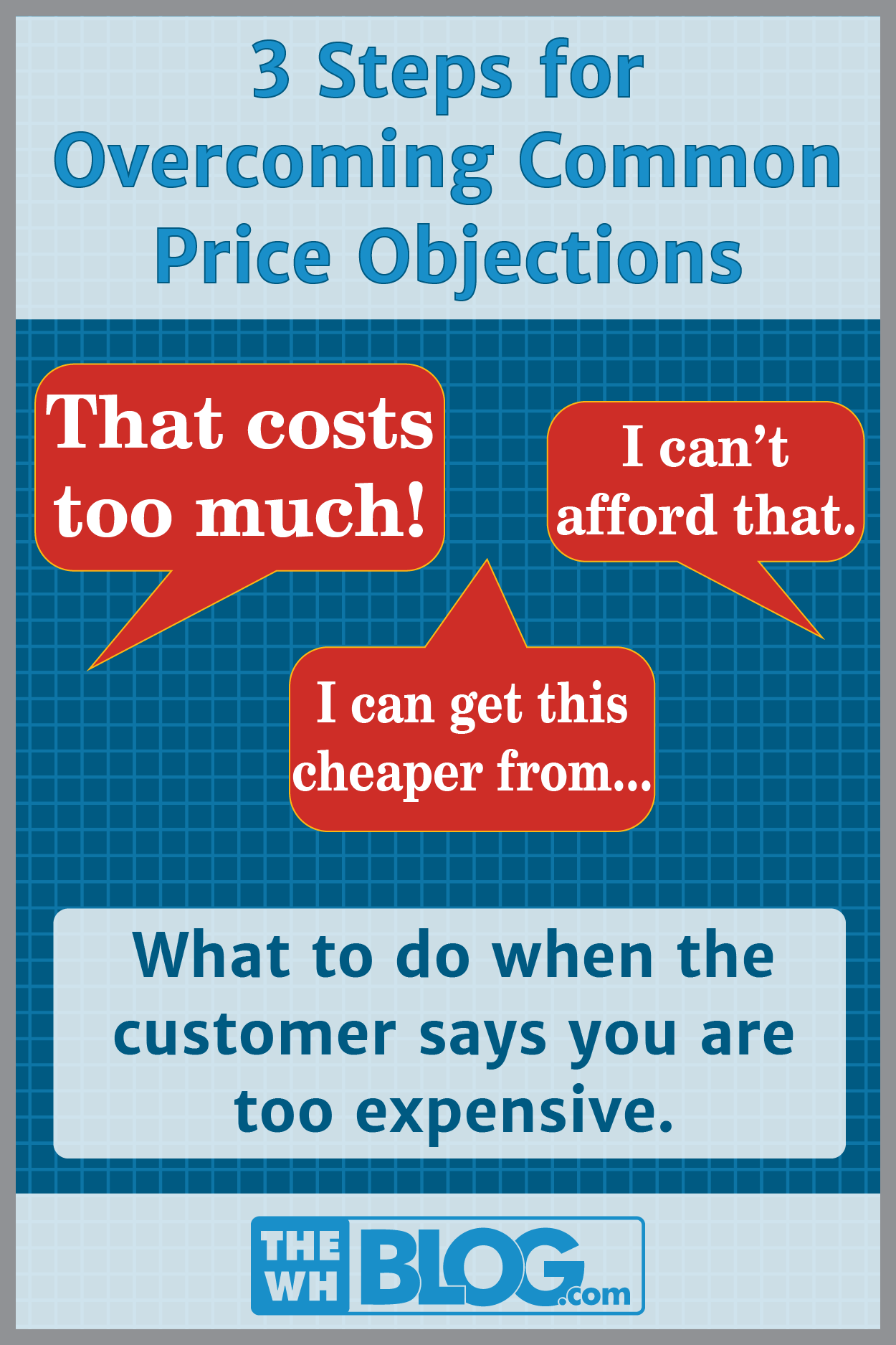 Blog Article Cover: 3 steps for overcoming common price objections: 'That costs too much, I can't afford that, I can get this cheaper from...