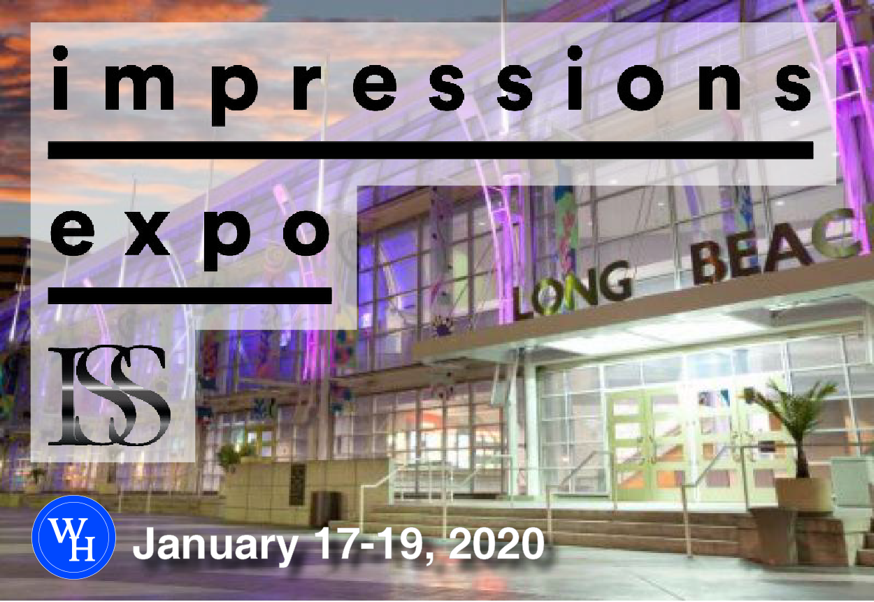 Picture of Long Beach Convention Center with Impressions Expo text and dates January 17-19, 2020.